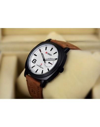 Стилен часовник с кожена каишка - бял