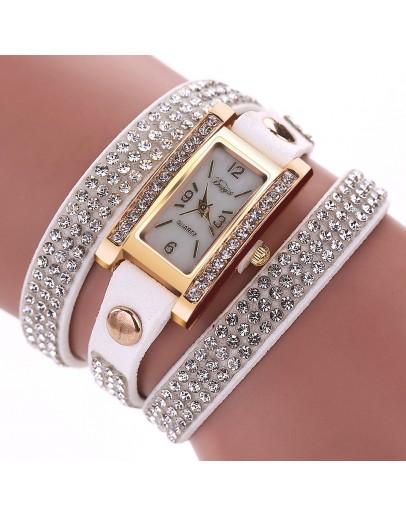Обсипан с кристали бял дамски часовник