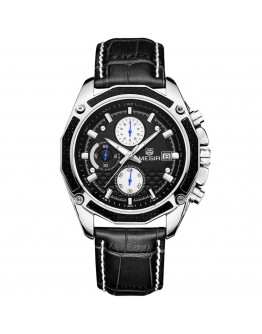 Стилен черен мъжки часовник с хронограф