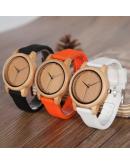 Дървен часовник със силиконова каишка - Montesilvano - 3 цвята